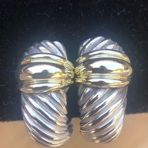 David Yurman 14K and Sterling Large Cable Earrings